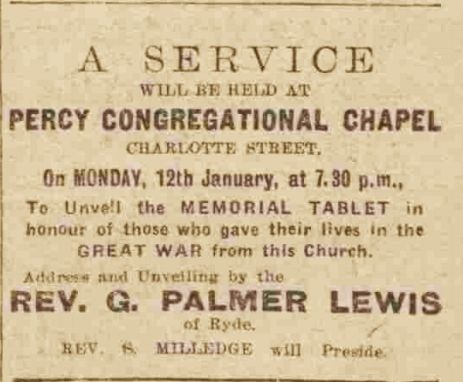 Advertisement of Percy memorial unveiling